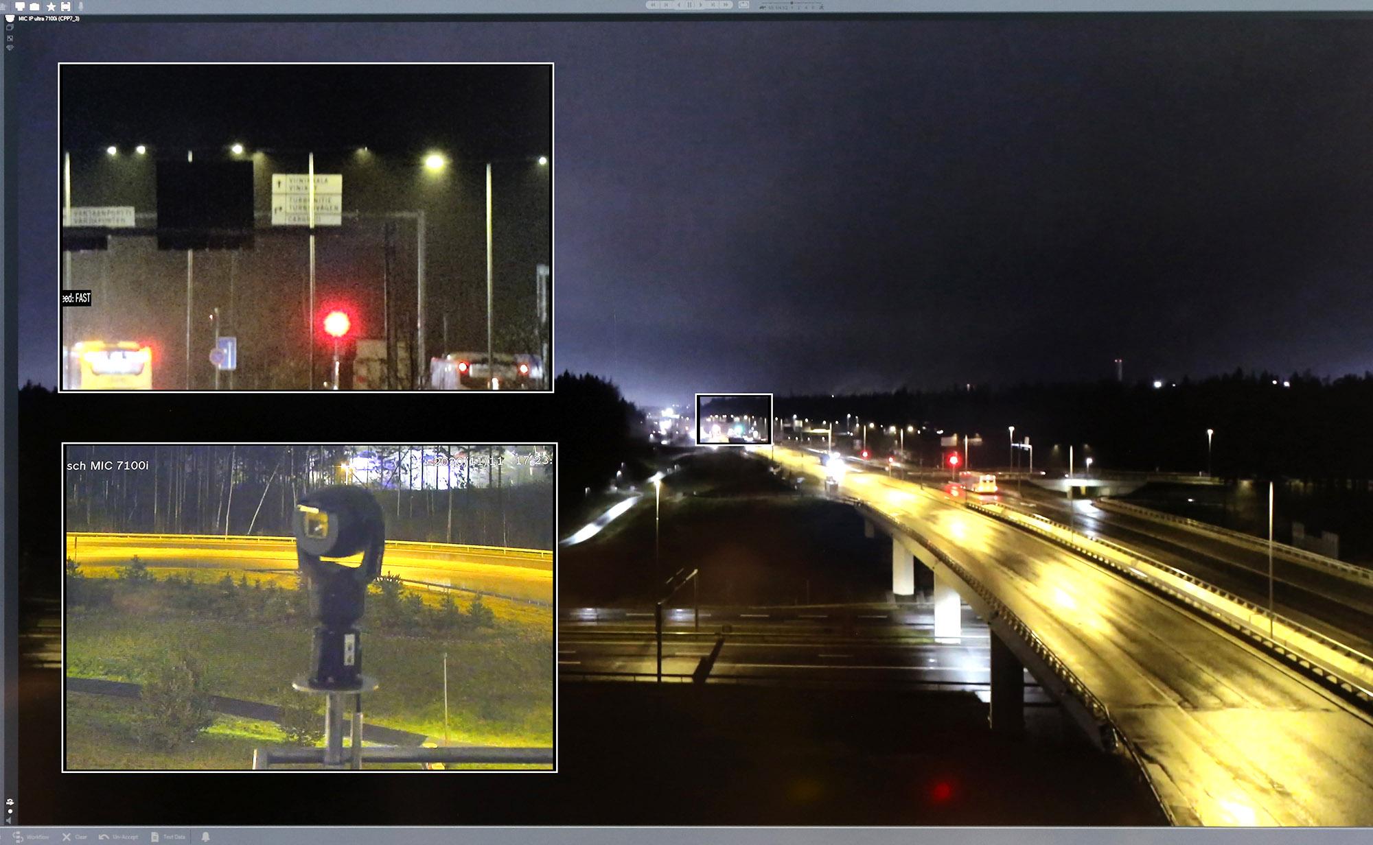 Boschin 12-kertaisella optisella zoomilla varustetulla IP Ultra -kameralla kuvan pystyy tarkentamaan noin 800 metrin päässä olevaan tienviittaan myös pienessä tihkusateessa.