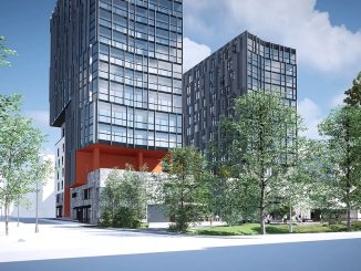 Plaanatornin viereen rakennetaan 13-kerroksinen Plaanavahti. Rakennusten väliin jää talon asukkaiden yksityinen sisäpiha kolmannen kerroksen korkeudelle. Kuva Skanska.