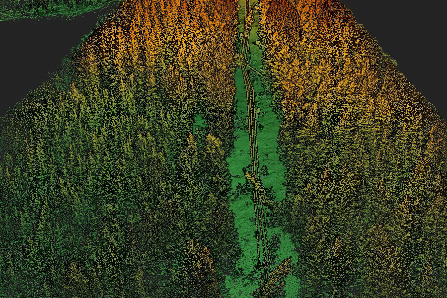 Hepta Airbornen skannaama kuva linjalle kaatuneista puista.