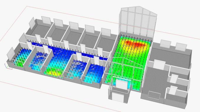 Kuvan mallissa on laskettu IDA-simulointiohjelmiston avulla rakennuksen tilojen päivänvalokertoimet, jotka kertovat tilan eri pisteiden valaistusvoimakkuuden suhteessa ulkotilaan. Tämä helpottaa luonnonvalon hyödyntämistä. Grafiikka Mika Vuolle.