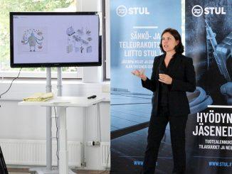 Combient Mix oy:n toimitusjohtaja Hanna Hagström kertoi puheenvuorossaan tekoälyn ja koneoppimisen mahdollisuuksista. Kuva Sauli Norja.